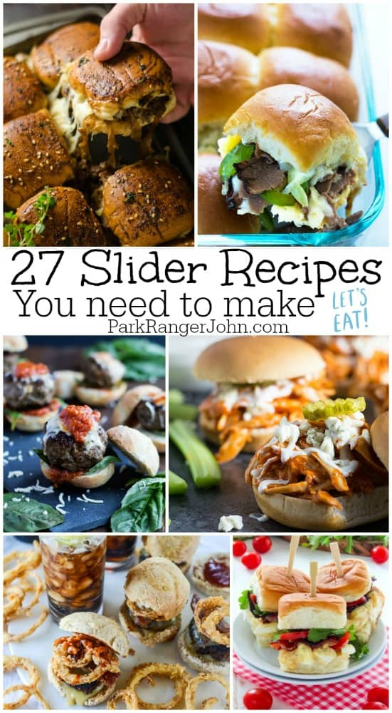 27 tasty sliders Recipes you need to make! Cheeseburger, Ham and Cheese, cheesesteak, party, meatball, Hawaiian, chicken, beef so may different Slider recipes to try!